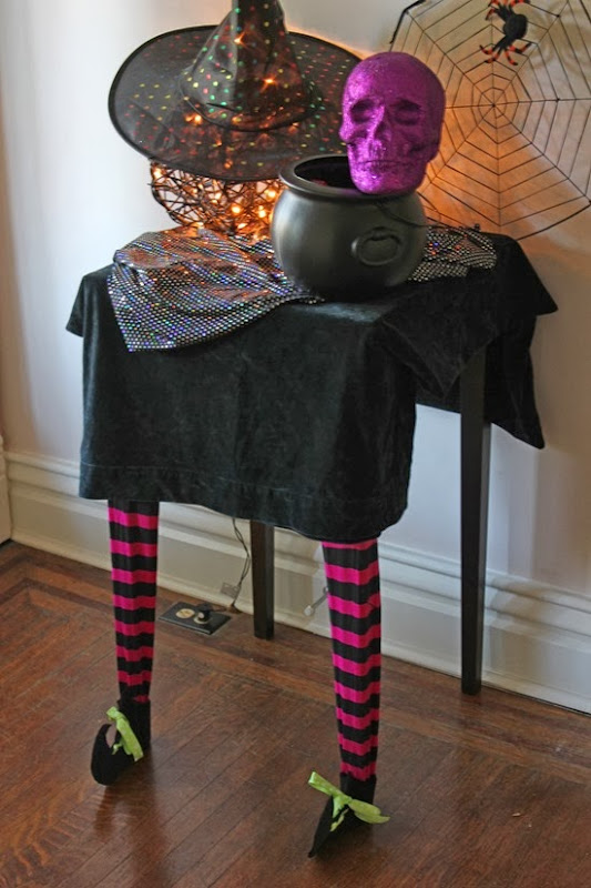 DIY Witch Legs Halloween Table