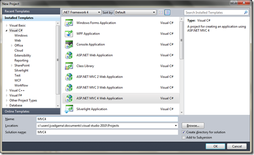 ASP.NET MVC 4.0 Create Project Dialog- First Review