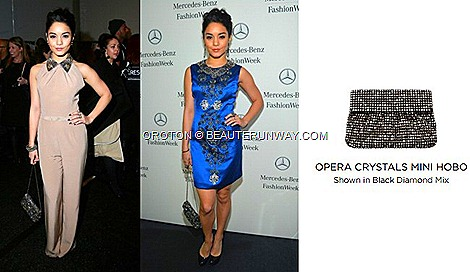 VANESSA HUDGENS OROTON OPERA CRYSTALS MINI HOBO BAG MERCEDES BENZ FASHION WEEK Jenny Packham Naeem Khan Fall Winter 2013 Fashion Shows.dress coat jacket clutch accessories shoes High School Musical series American actress singer