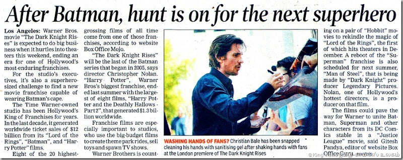 Times Of India Chennai Edition Dated Sunday 22nd Jyly 2012 Page No 13 Hunt for Next Super Hero after Batman
