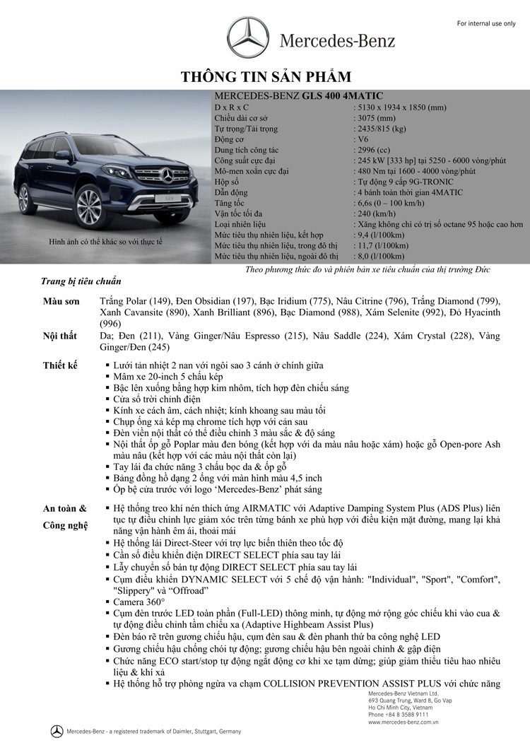 Thông số kỹ thuật xe Mercedes Benz GLS 400 thế hệ mới 02
