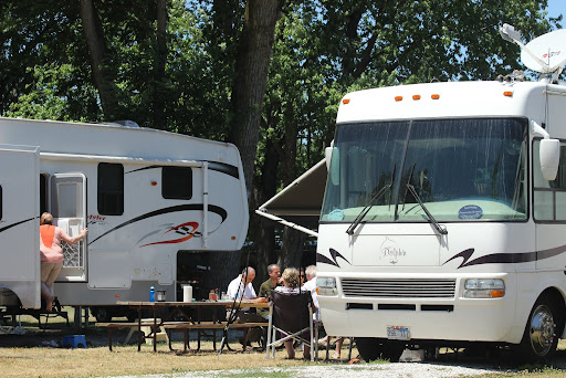 The May's RV with family and friends.  The park owner put their 5th Wheel on the lot next to them so family who flew in from England would have a place to stay.