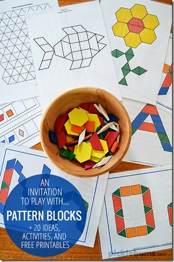 FREE printable pattern block sets to help preschool and kindergarten children practice their alphabet letters, numbers, shapes, patterns, create picture, and more!