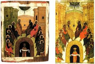 Icon Nga, thế kỷ XV (trái) và thế kỷ XVII (phải)