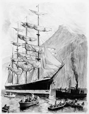 Acuarela del Capitan Francisco Noguerol Cajen, practico del puerto de Santa Cruz de la Palma, del PAMIR. Colección del autor