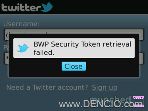 Twitter for BB Error