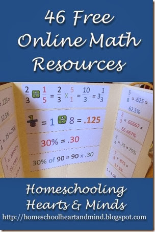46 free math resources at Homeschooling Hearts & Minds
