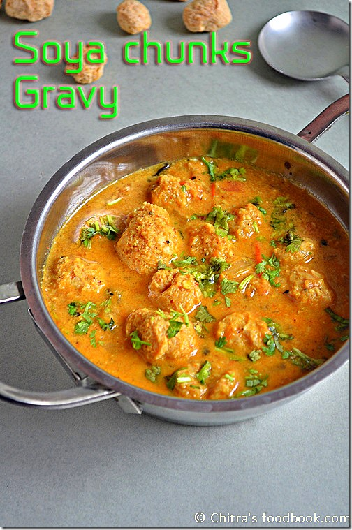 Soya chunks kurma / Meal maker gravy for rice and chapathi