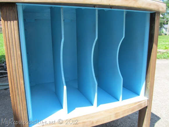 black and blue record cabinet