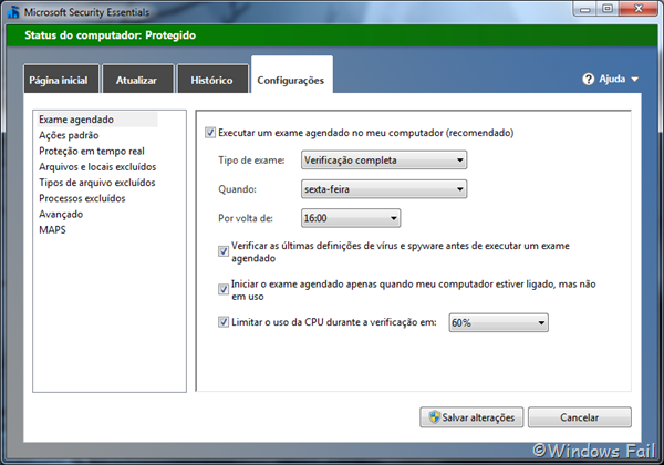 Alterando as configurações de verificação de vírus agendada no Security Essentials