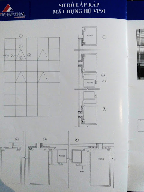 Sơ đồ lắp đặt mặt dựng nhôm Việt Pháp hệ 91