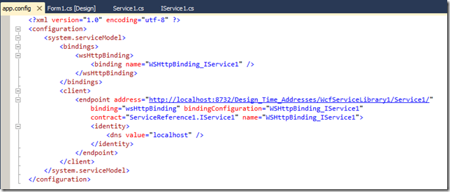 Dinis Cruz Blog: Programmatically configuring an WCF service without