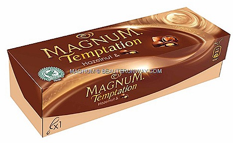 Magnum Temptation Hazelnut fruit bon bon ice cream syrup chocolate  sauce caramelised hazelnut pieces vanilla dessert cranberry
