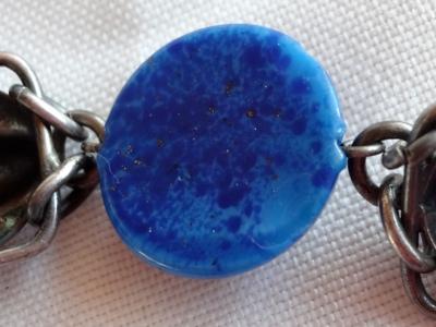 Czech Art Deco Lapis Lazuli Glass Silver Necklace