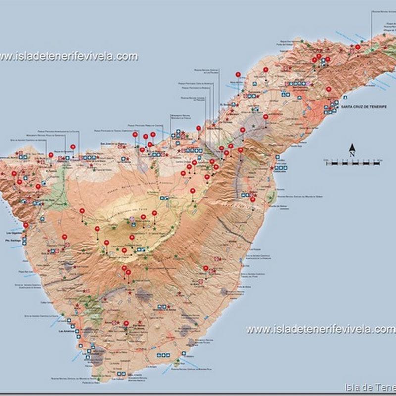 Mapa De Tenerife Sur.Miradores De Tenerife Isla De Tenerife Vivela