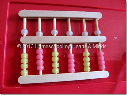 step 14 for making your own abacus @Homeschooling Hearts & Minds