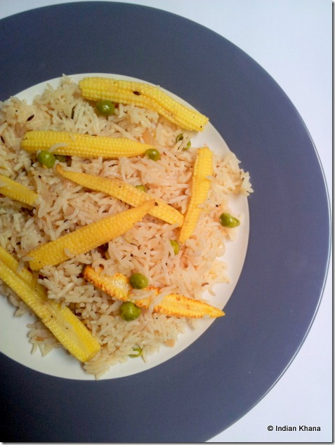 babycorn pulav pulao pilaf fried rice recipe