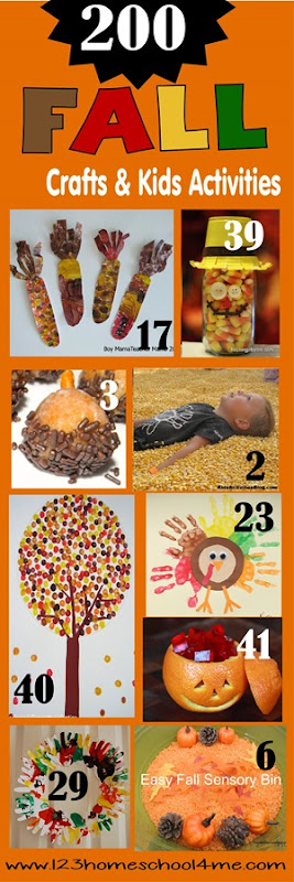 200 Fall Crafts & Kids Activities - SO many really cute, clever, and unique fall activities for preschool, prek, kindergarten, first grade, 2nd grade, 3rd grade, and more perfect for September, October, and November. Themes include corn, acorn, fall trees, leaves, pumpkin, and more!