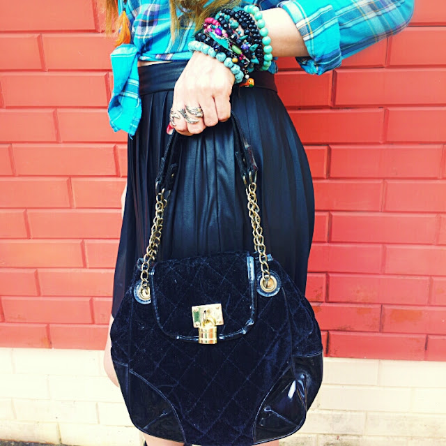 Hand Beads & Black Quilted Bag