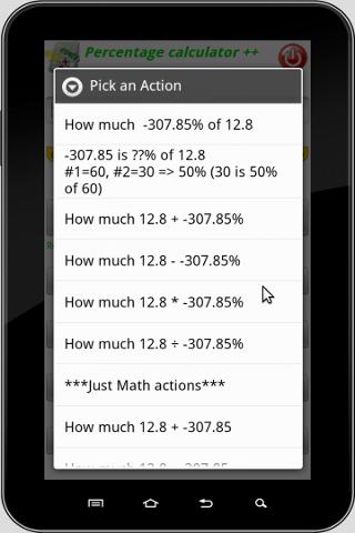 Screenshots for Percentage Calculator