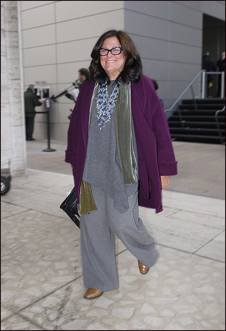 w fern mallis purple coat gret sweater and slacks serious hardware ol