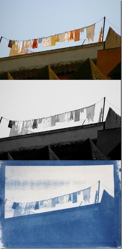 Wäscheleine in der Altstadt von Sevilla -  Drei Bilder Farbe - Schwarzweiß - Cyanotypie (Blaudruck)