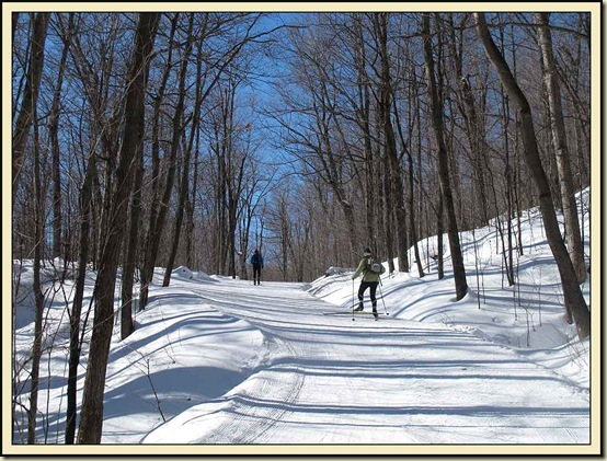 Skiers ascending Penguin Hill to the point where it is joined by Trail 30