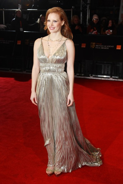 Jessica Chastain attends The Orange British Academy Film Awards 2012