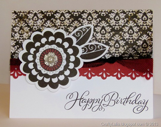 For Always Birthday card with Girls Rock Flower Artiste Border Black Tulle Ribbon and Claire Assortment