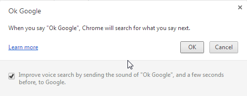 Chrome 34 enable OK Google Voice search