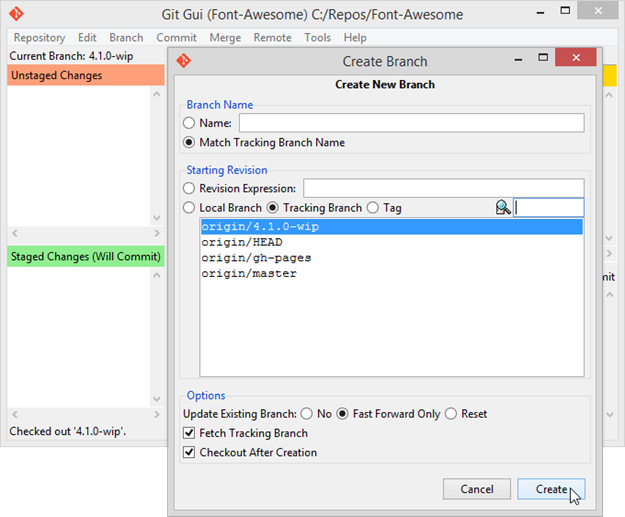 Figure 3 - Creating a tracking branch with Git Gui with the same name [ 4.1.0-wip ] as defined in origin