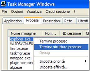 Task Manager Processo explorer.exe