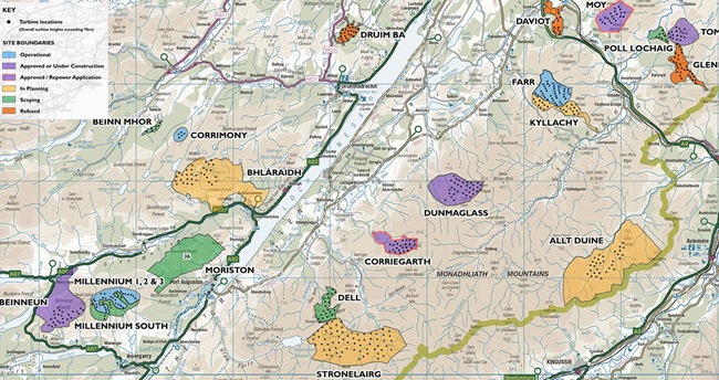 HIGHLAND COUNCIL WIND FARM MAP at 1st JAN 2014
