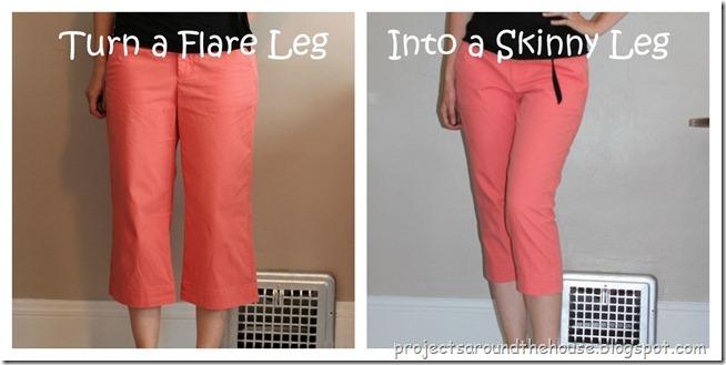 turn a flare leg into a skinny leg capri refashion