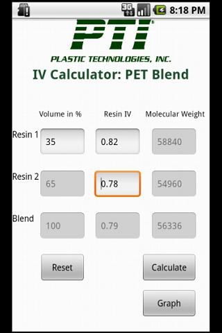 PET Blend Calculator- screenshot