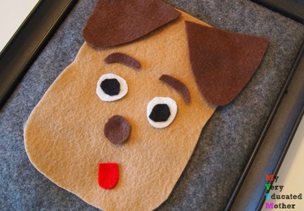 Toddler Activity: Puppy Felt Face via @mvemother