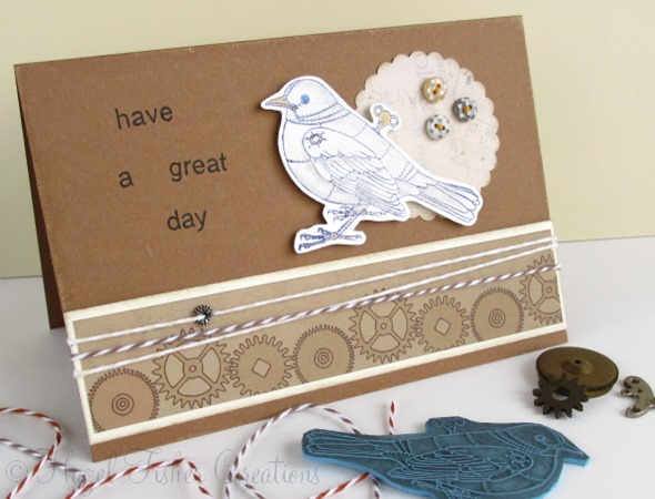 2013May23 rubber stamp steampunk card clockwork blackbird 1