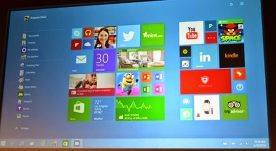 Pantalla de inicio de Windows 10