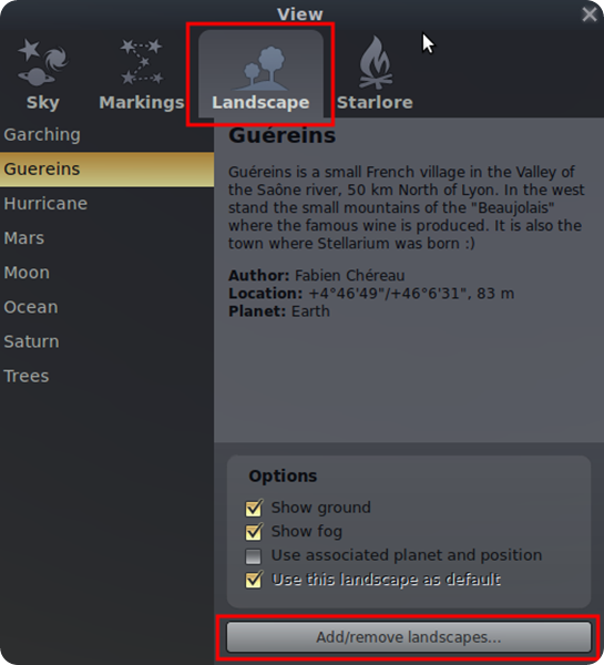 stellarium add-remove-landscapes-button