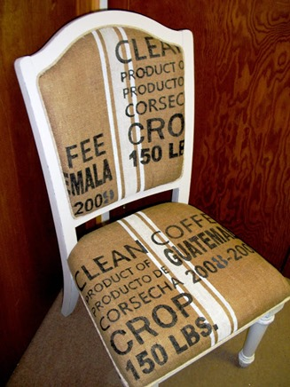 burlap coffee sack chair upholster