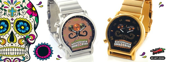 85144344a4e Caveiras mexicanas nos relógios da Chilli Beans.