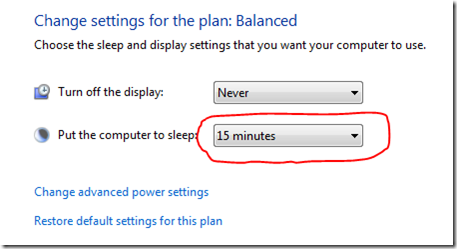 Windows 7 Sleep Mode settings