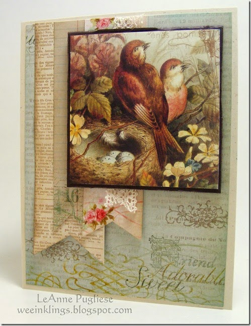 LeAnne Pugliese WeeInklings Vintage Crafty Secrets Bird Birthday