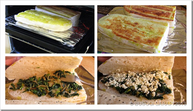 TOASTED TURKISH BREAD WITH SPINACH, FETA & MELTED CHEESE STEP13-16© BUSOG! SARAP! 2013