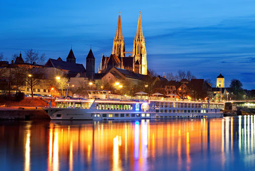 Uniworld-River-Princess-Regensburg-Germany - Discover the unforgettable medieval town of Regensburg in Germany on a European Cruise aboard River Princess. The Bavarian city sits at the confluence of the Danube and Regen rivers.