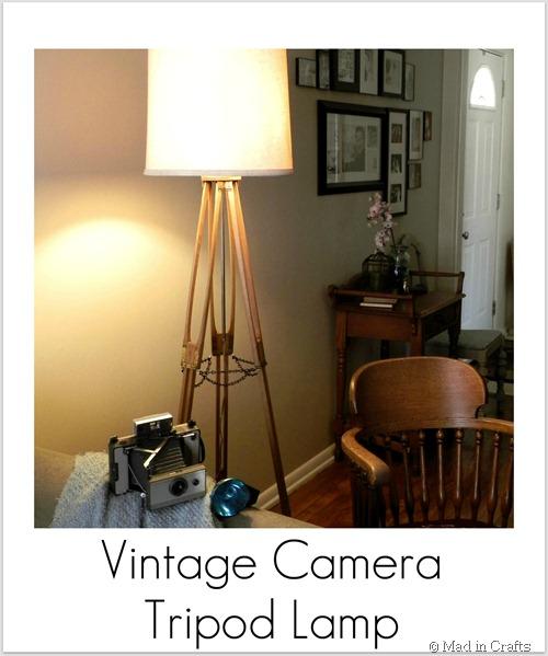 vintage camera tripod lamp