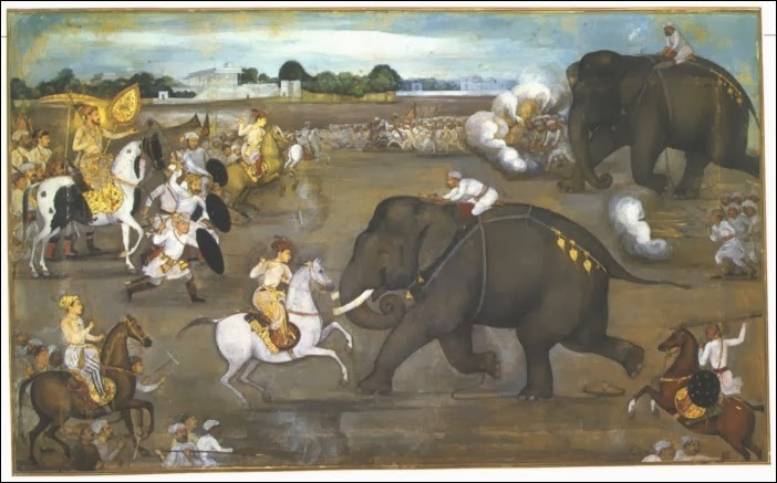 Prince_Awrangzeb_(Aurangzeb)_facing_a_maddened_elephant_named_Sudhakar_(7_June_1633)