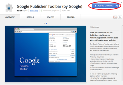google publisher toolbar- add to chrome
