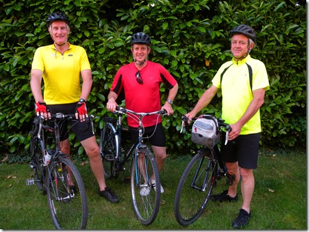 L-R Tony Hoy, Charlie Gobbett, Gareth Roberts, cycle 345 miles from the London Eye to Notre Dame for St Luke's (Cheshire) Hospice
