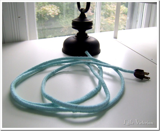 vintage lamp with yarn wrapped cord by Little Victorian